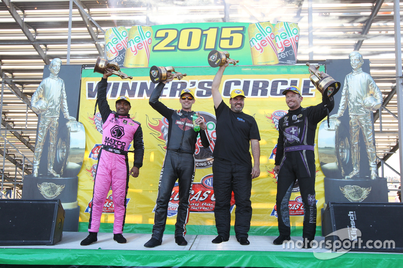 Race winners Antron Brown, Andrew Hines, Chris McGaha and Jack Beckman