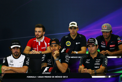 The FIA Press Conference Will Stevens, Manor Marussia F1 Team; Pastor Maldonado, Lotus F1 Team; Carlos Sainz Jr, Scuderia Toro Rosso; Fernando Alonso, McLaren; Lewis Hamilton, Mercedes AMG F1; Sergio Perez, Sahara Force India F1