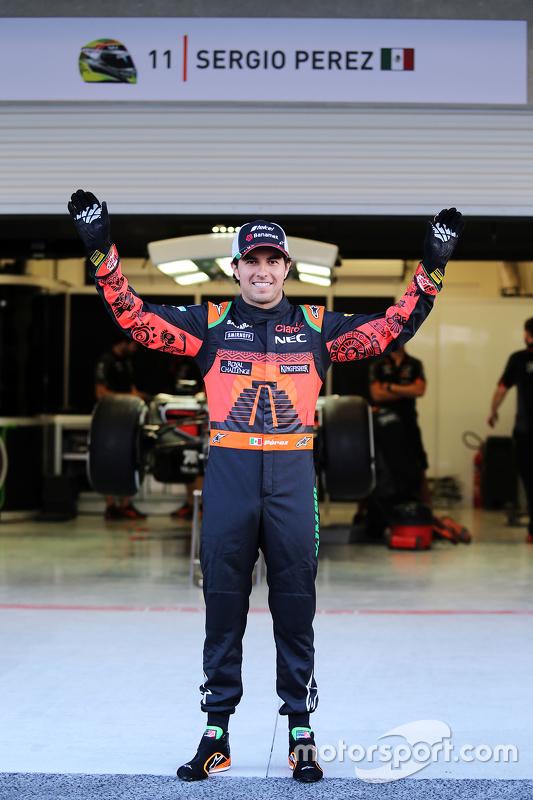 Sergio Pérez, Sahara Force India F1 presenta el traje que usara con temas especial de México