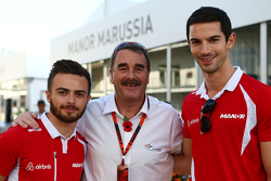 Will Stevens, Manor Marussia F1 Takımı ile Nigel Mansell, ve Alexander Rossi, Manor Marussia F1 Takı