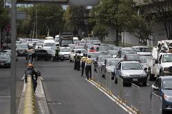 Traffic outside the Autodromo Hermanos Rodriguez