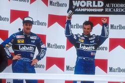 Podium: winner Riccardo Patrese, second place Nigel Mansell