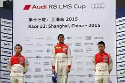 Podium: winner Aditya Patel, Team Audi R8 LMS Cup, second place Marchy Lee, Audi Hong Kong Team, thi