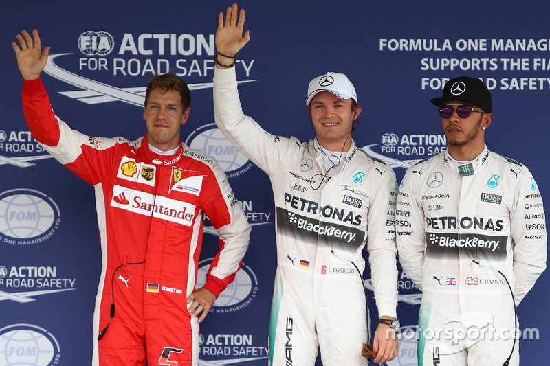 Polesitter Nico Rosberg, Mercedes AMG F1 Team, second place Lewis Hamilton, Mercedes AMG F1 Team and third place Sebastian Vettel, Ferrari