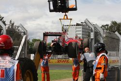 The Ferrari SF15-T of Kimi Raikkonen, Ferrari is removed from the circuit after he stopped in the third practice session