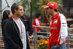 Juan Pablo Montoya, met Marc Gene, Ferrari testrijder