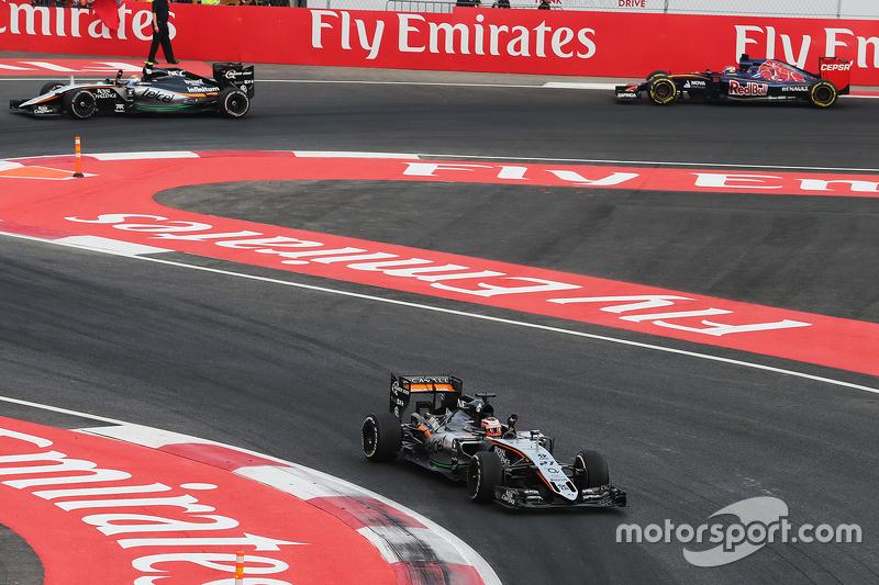 Nico Hulkenberg, Sahara Force India F1 VJM08 al final de la carrera