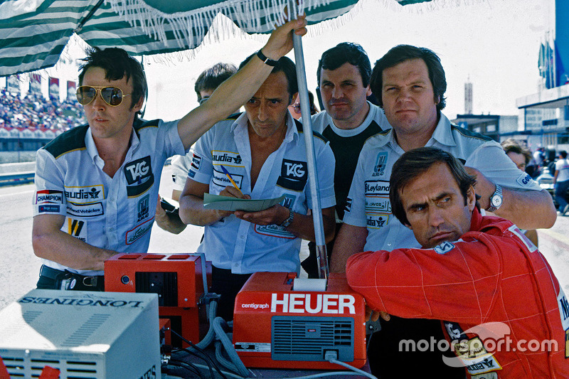 Patrick Head, Alan Jones y Carlos Reutemann, Williams