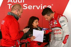 André Lotterer with Andreas Roos, Project Manager Racing LMP and Leena Gade, race engineer Audi Spor
