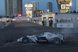 Graham Rahal tries the BMW Formula One car
