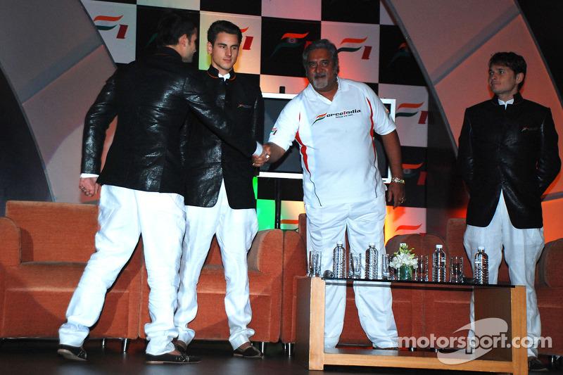 Vitantonio Liuzzi Force India F1, Adrian Sutil Force India F1, Vijay Mallya CEO Kingfisher and Giancarlo Fisichella Force India F1