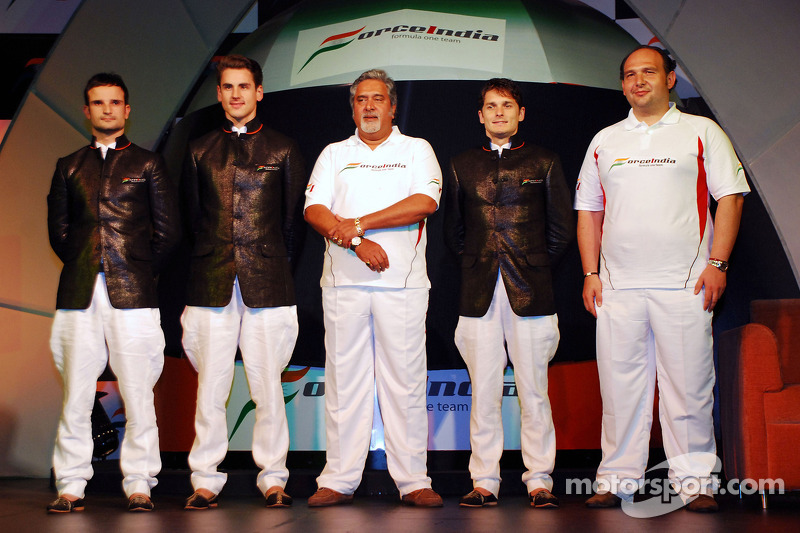 Vitantonio Liuzzi Force India F1, Adrian Sutil Force India F1, Vijay Mallya CEO Kingfisher, Giancarl