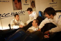 Olivier Panis, Nicolas Lapierre, Stéphane Ortelli and Soheil Ayari pose with the Courage-ORECA LC70