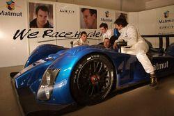 Olivier Panis, Nicolas Lapierre, Stéphane Ortelli and Soheil Ayari pose with the Courage-ORECA LC70 Judd