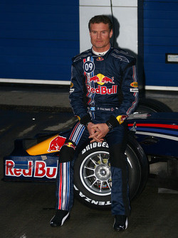 David Coulthard poses with the new Red Bull RB4