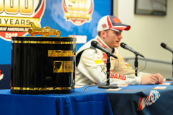 Dale Earnhardt Jr. and the Harley F. Earl Daytona 500 winner's trophy 'Gold Edition'