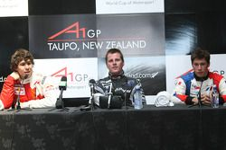 Robert Wickens, driver of A1 Team Canada, Jonny Reid, driver of A1 Team New Zealand and Loic Duval, driver of A1 Team France