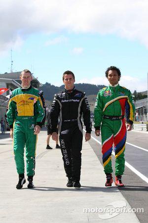 John Martin, driver of A1 Team Australia with Jonny Reid, driver of A1 Team New Zealand and Adrian Zaugg, driver of A1 Team South Africa