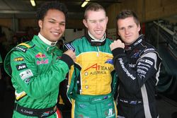 Jonny Reid, driver of A1 Team New Zealand with Adrian Zaugg, driver of A1 Team South Africa and John Martin, driver of A1 Team Australia