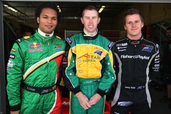 Adrian Zaugg, driver of A1 Team South Africa with John Martin, driver of A1 Team Australia and Jonny