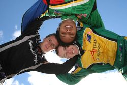 Jonny Reid, driver of A1 Team New Zealand with Adrian Zaugg, driver of A1 Team South Africa and John