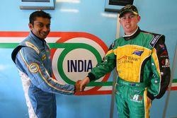 Narain Karthikeyan, driver of A1 Team India with John Martin, driver of A1 Team Australia