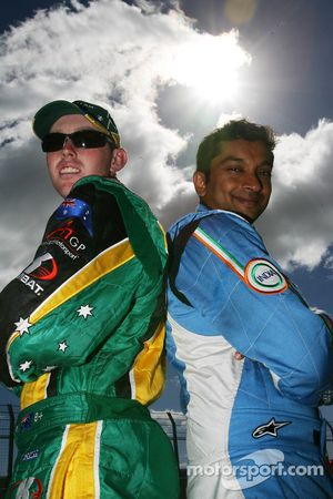 Narain Karthikeyan, driver of A1 Team India with John Martin, driver of A1 Team Australia
