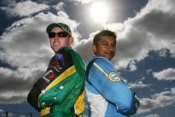 John Martin, driver of A1 Team Australia with Narain Karthikeyan, driver of A1 Team India