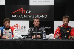 Loic Duval, driver of A1 Team France, Jonny Reid, driver of A1 Team New Zealand, Christian Vietoris,
