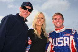 Charlie Kimball, driver of A1 Team USA with a grid girl and Jonathan Summerton, driver of A1 Team USA