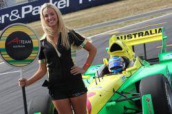 John Martin, driver of A1 Team Australia grid girl