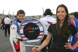 Loic Duval, driver of A1 Team France with his grid girl
