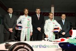 Nick Fry, Honda Racing F1 Team, Chief Executive Officer, Jenson Button, Honda Racing F1 Team, Ross Brawn Team Principal, Honda Racing F1 Team, Rubens Barrichello, Honda Racing F1 Team, Yashurio Wada, Honda Racing Development Ltd, President
