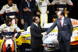 Flavio Briatore, Managing Director, Renault F1, Carlos Ghosn, Chairman of Renault, and Bernard Rey,