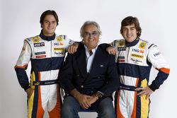 Flavio Briatore, Managing Director, Renault F1, Fernando Alonso, Renault F1 Team, Nelson A. Piquet, Renault F1 Team