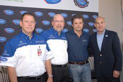 Erik Berkman, President Honda Performance Development, Robert Clarke, HPD Executive Advisor, Gil de Ferran, owner/driver De Ferran Motorsports, Scott Atherton, CEO ALMS