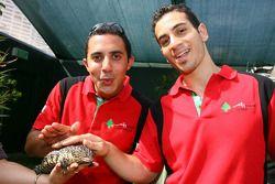 Khalil Beschir, driver of A1 Team Lebanon and Chris Alajajian, driver of A1 Team Lebanon meet a lizard