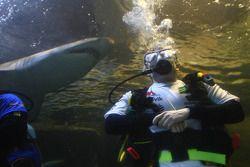 Adam Carroll, driver of A1 Team Ireland at the shark dive tank at Ocean world, Sydney