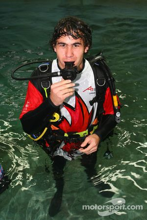 Robert Wickens, driver of A1 Team Canada at the shark dive tank at Ocean world, Sydney