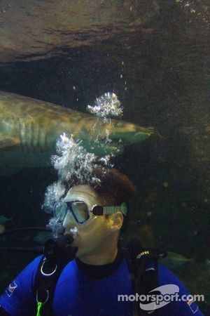 James Winslow, driver of A1 Team Great Britain at the shark dive tank at Ocean world, Sydney