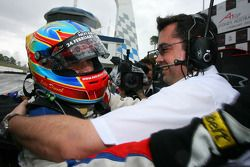 Winner, Loic Duval, driver of A1 Team France, celebrates with his team