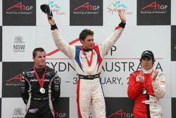 Winner, 1st, Loic Duval, driver of A1 Team France, 2nd, Jonny Reid, driver of A1 Team New Zealand, 3rd, Robert Wickens, driver of A1 Team Canada