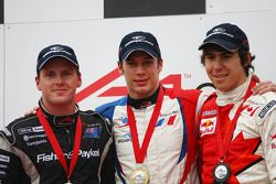 2nd place Jonny Reid, driver of A1 Team New Zealand with Loic Duval, driver of A1 Team France and Ro