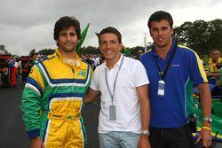 Sergio Jimenez, driver of A1 Team Brazil with Juninho and Clemente de Faria Jnr, driver of A1 Team B