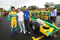 Sergio Jimenez, driver of A1 Team Brazil with Juninho and Clemente de Faria Jnr, driver of A1 Team Brazil