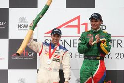 3rd, Neel Jani, driver of A1 Team Switzerland and Winner, 1st, Adrian Zaugg, driver of A1 Team South