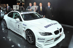 Bobby Rahal and Scott Atherton pose with the new Rahal Letterman Racing BMW M3 LM GT2