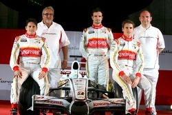 Giancarlo Fisichella, Vijay Mallya, Adrian Sutil, Vitantonio Liuzzi and Dr Colin Kolles, Force India F1 Team Manager