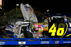 The wrecked car of Jimmie Johnson