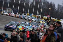 Cars ready to leave parc fermé